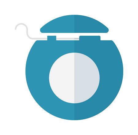 dental floss: Dental floss vector illustration icon. Dental floss isolated on blue background. Healthy dental floss vector icon flat style Illustration