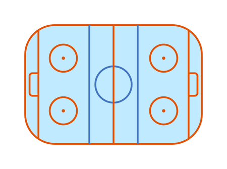 ice surface: Overhead view an ice hockey rink complete with markings. Stadium cold arena white ice hockey field surface competitive match. Winter play team game ice hockey field design professional skate vector.