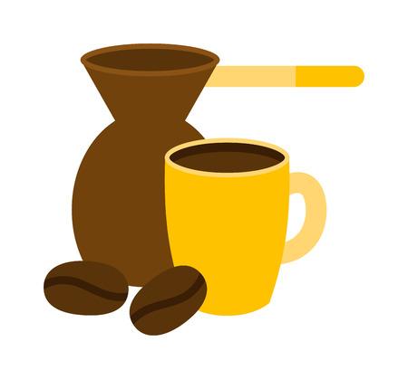 coffee pot: Turkish fishborn coffee pot prepared coffee. Ibrik cezve coffee pot ibrik cezve caffeine breakfast vintage copper. Ibrik cezve for coffee pot beverage caffeine breakfast vector