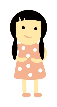 Cute baby kid girl and cute child character vector. Cute girl beautiful fashion young female and cute girl dress kid love child. Cute girl dress kid love child and cute happy girl. Cartoon character. Vektorové ilustrace
