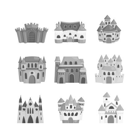 hill of the king: Cartoon fairy tale castle tower icon. Cute cartoon castle architecture. Vector illustration fantasy house fairytale medieval castle. Princess cartoon castle cartoon stronghold design fable isolated.