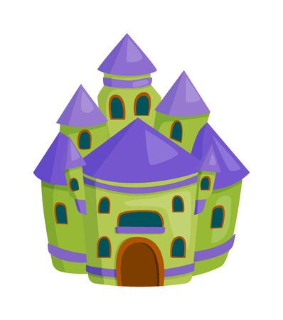 stronghold: Cartoon fairy tale castle tower icon. Cute cartoon castle architecture. Vector illustration fantasy house fairytale medieval castle. Princess cartoon castle cartoon stronghold design fable isolated.