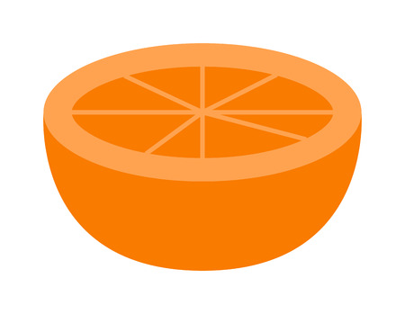 orange cut: Slice of fresh orange isolated on white background fruit. Orange slice vector citrus food, orange slice juicy organic sweet vitamin. Tasty healthy cut exotic fruit. Illustration