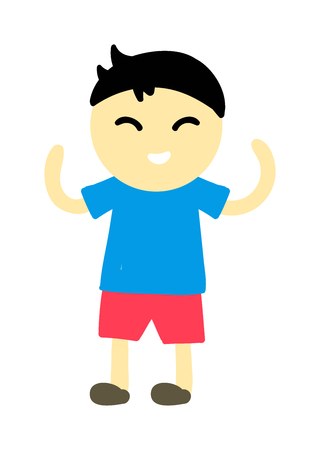 young one: Cute young boy isolated. Small school boy stands and youth cheerful fun character. Vector character boy stands and lifestyle one beautiful stand adorable teen. Illustration