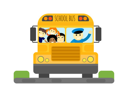 schoolbus: Illustration of school kids riding yellow schoolbus transportation education. Student child isolated school bus safety stop drive vector. Travel automobile school bus public trip childhood truck. Illustration