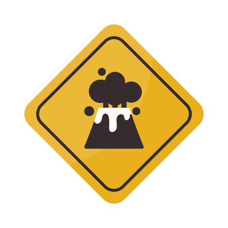 Volcano warning sign vector illustration. Mountain danger nature volcano warning sign science hazard geography message. Rock active volcano warning sign magma dangerous smoke disaster graphic. Illustration