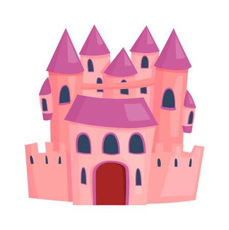 stronghold: Cartoon fairy tale castle tower icon. Cute cartoon castle architecture. Vector illustration fantasy house fairytale medieval castle. Princess cartoon castle cartoon stronghold design fable isolated.
