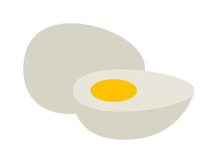 raw egg: Cooked egg sliced into half put together with raw egg. Vector white nutrition boiled raw egg slice natural food. Cooked healthy cut natural ingredient raw egg slice protein diet ingredient food.