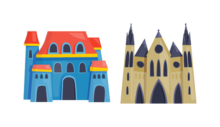 pink hills: Cartoon fairy tale castle tower icon. Cute cartoon castle architecture. Vector illustration fantasy house fairytale medieval castle. Princess cartoon castle cartoon stronghold design fable isolated.