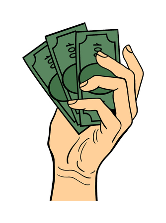 finanse: Human hand holding dollar money pose signal human fingers. Human hand isolated. Silhouette of hand showing symbols finger thumb vector illustration. Bank, money, shopping concept