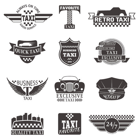 private service: Set of vintage and modern taxi