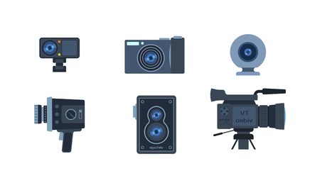 digital camera: Different photo and video cameras. Different camera set photography isolated symbol photograph digital equipment. Retro technology camera set vintage element sign film collection.