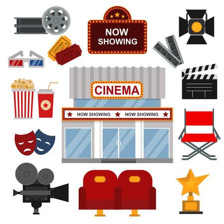 cinematography: Icons for media cinema symbols vector illustration. Isolated cinema symbols entertainment design camera sign. Director chair reel, ticket theater cinema symbols cinematography set.