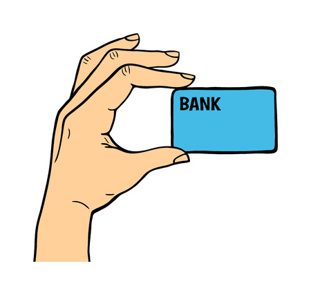 finanse: Human hand holding bank card pose signal human fingers. Human hand isolated. Silhouette of hand showing symbols finger thumb vector illustration. Bank, money, shopping concept Illustration
