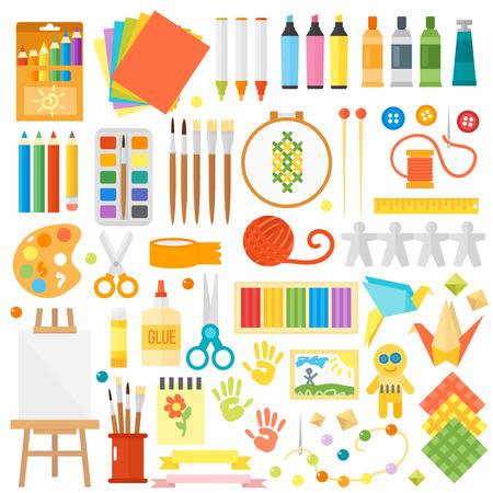 Themed kids creativiteit creatie symbolen art poster in vlakke stijl vector. Kids creativiteit creatie symbolen met artistieke voorwerpen voor kinderen kunstacademie. Art fest kids creativiteit creatie symbolen.