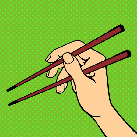 haman: Human hand holding sushi sticks pose signal human fingers. Human hand isolated. Silhouette of hand showing symbols finger thumb vector illustration. Haman resourses