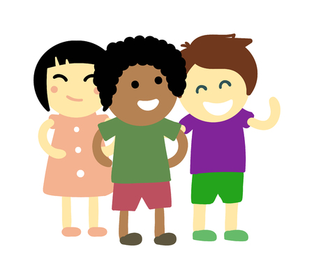 schoolkids: Group of school kids children together. Different nations happy character together concept vector. Little cute primary school children. School kids positive smiling children