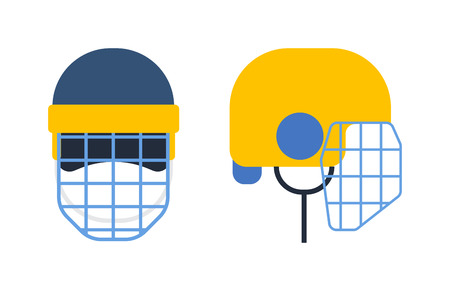 visor: Classic goalkeeper hockey helmet with metal protect visor. Front and side view. Sports hockey helmet vector illustration isolated on white background. Hockey helmet sport equipment protection.