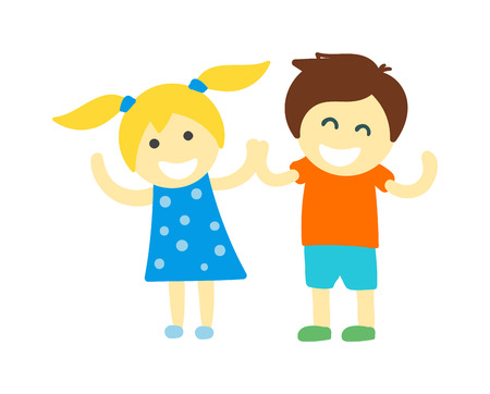 kids holding hands: Kids holding hands doing jump and kids holding hands vector character. Kids holding hands cute little boy and girl. Kids holding hands love, friendship happy girl happiness children.