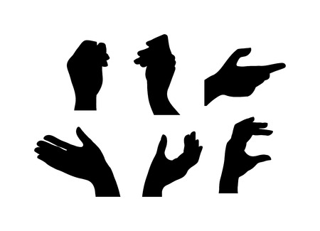okey: Human hands different pose signal human fingers. Human hands isolated. Silhouette of hands showing symbols finger thumb vector illustration.