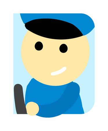 ruder: Treiber Mann nette lustige Cartoon-Mann. Beruf Fahrer Automobil Kind, Spaß Straße Busfahrer. Treiber Mann Uniform niedlichen Cartoon-Vektor-Beruf Charakter.