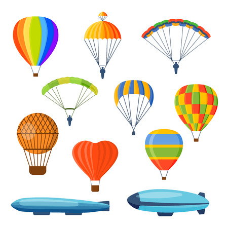 aerostat: Illustration with different aerostats flat icons cartoon graphic. Modern balloon aerostat transport sky hot fly adventure journey and old vector air ballon travel transportation flight airship.