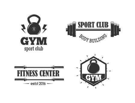 Set of monochrome gym fitness Illustration