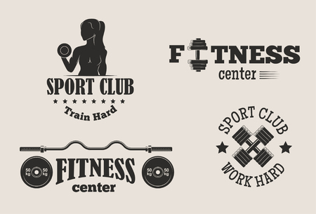 Set of monochrome gym fitness  イラスト・ベクター素材