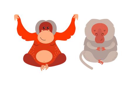 eyelid: Cartoon monkey vector illustration. Monkey animal and jungle cartoon wild life. Monkey cute types cute primate isolated. Monkey zoo jumping chimpanzee mammal.