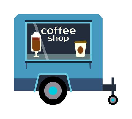 negocios comida: etiquetas de color remolque Festival de la calle de café, los alimentos van restaurante. Cafe remolque de camión urbano de alimentos, el mercado móvil, eventos y transporte. ilustración vectorial de camiones de comida remolque, servicio de entrega rápida.