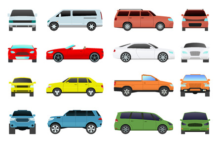 minivan: Car type and model objects icons set multicolor automobile supercar. Wheel symbol car types coupe hatchback. Traffic collection showroom camper car types minivan flat mini automotive.
