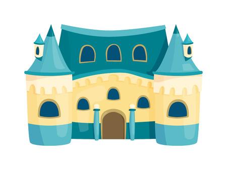 cute house: Cartoon fairy tale castle tower icon. Cute cartoon castle architecture. Vector illustration fantasy house fairytale medieval castle. Princess cartoon castle cartoon stronghold design fable isolated.