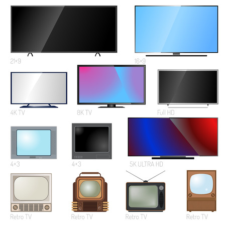 video wall: TV screen lcd monitor and notebook, tablet computer, retro templates. Electronic devices TV screens infographic. Technology digital device TV screens, size diagonal display vector illustration.