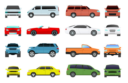 coupe: Car type and model objects icons set multicolor automobile supercar. Wheel symbol car types coupe hatchback. Traffic collection showroom camper car types minivan flat mini automotive.