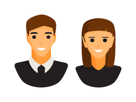 ilhouette: Man and woman silhouette icons. Pare, business man and business woman silhouette. People abstract icons. Isolated. Avatar, person face, couple. Human avatar silhouette