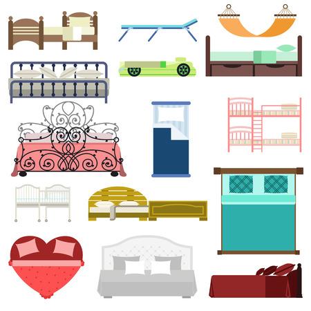 literas: icono de la cama conjunto de vectores de interiores casa de reposo. Doble romántica colección motel de viajes icono de muebles de cama Sleep vectorial. Cama vector de información casa albergue la hora de dormir de servicios modernos muebles de sueño.