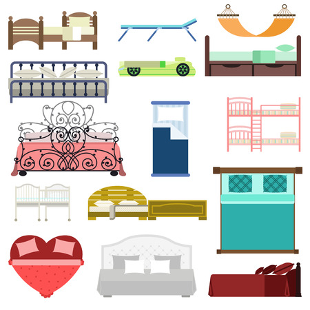 bedtime: Vector bed icon set interior home rest. Double romantic travel motel collection bed vector sleep furniture icon. Bed vector house information hostel bedtime modern service sleep furniture. Illustration