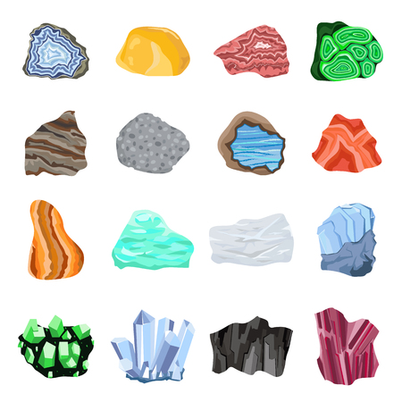 mineral: Collection set of semi precious gemstones stones and mineral stone isolated on white background. Colorful shiny gemstone. Mineral stone jewelry material agate mineral stone geology nature crystal.