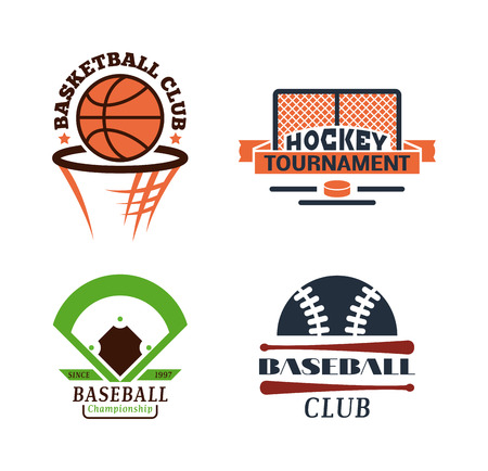 sport team: Template for sports teams with different balls and symbols. Tournament competition graphic champion sport team badge set. Vector club game element sport team badge.