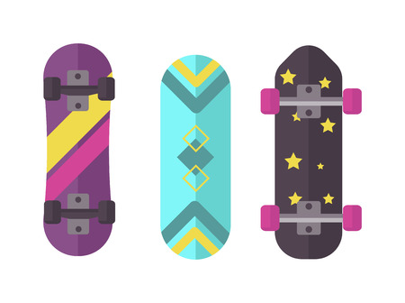 Skateboard icon extreme sport sign. Vector different board skateboard icons urban art silhouette. Street graphic deck skater skateboard icons active fun ride. Illustration