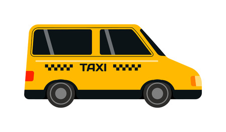 yellow taxi: Taxi yellow bus car isolated on white background. Vector yellow taxi bus van and cab transport traffic urban yellow taxi. Road street service yellow taxi bus car isolated, Van truck taxi bus