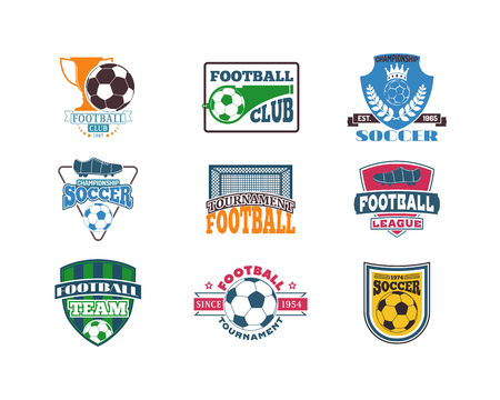 league: Set of soccer football badge logo design templates. Sport team identity football logo vector isolated on white background. Collection of soccer themed football logo graphics emblem game icon.