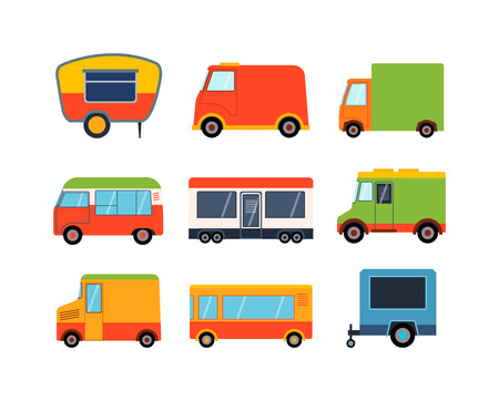 trailers: Street food festival color trailers labels set, van restaurant. Cafe urban food truck trailers, mobile market, event and transport. Vector illustration food truck trailers, fast delivery service.