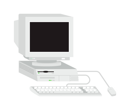 tft: Desktop computer vector and desktop computer keyboard internet isolated display icon. Pc technology monitor screen desktop computer and communication modern desktop computer