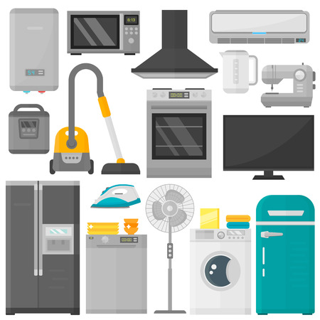 Group of home appliances isolated on white background. Kitchen equipment refrigerator home appliance. Domestic oven washing microwave electric home appliance cooking freezer tool.