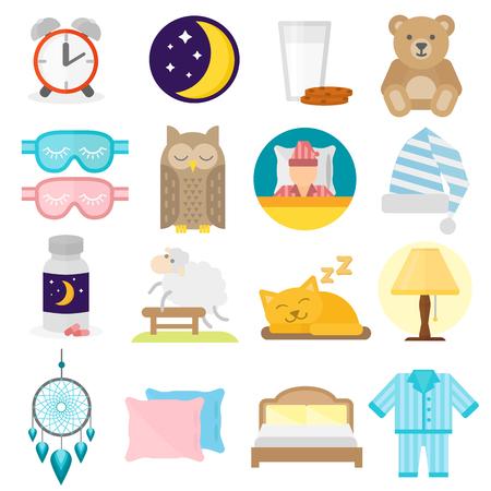 Schlafzeit Symbole flach mit Fenster Milch gesetzt und Cookies Vektor-Illustration isoliert. Schlaf-Ikonen Mond Kissen Uhr Traum gesunden Lebensstil. Schlafzimmer Rest Stern menschliche Sammlung Schlaf-Ikonen. Vektorgrafik