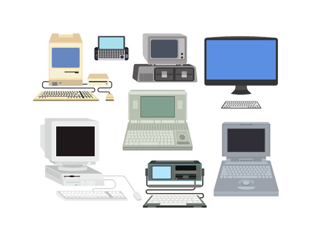 old pc: Old omputer technology vector isolated. Telecommunication equipment old vintage pc monitor frame computer modern office network. Old computer device electronic equipment space.
