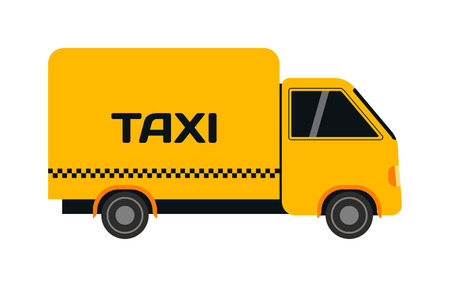 Taxi yellow van car isolated on white background. Vector yellow taxi truck van and cab transport traffic urban yellow taxi. Road street service yellow taxi van truck car isolated Illustration