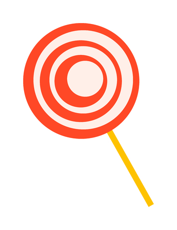 Lollipop sweet food vector illustration. Colorful red lollipop isolated on white vector illustration sugar candy. Lollipop sweet candy dessert