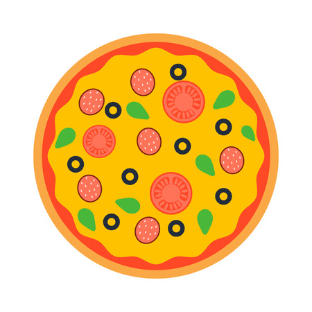 crust: Delicious italian pizza isolated. Pizza top view vector, Pizza crust, dinner, tomato and fast food. Traditional slice meat basil vegetable pizza food. Illustration